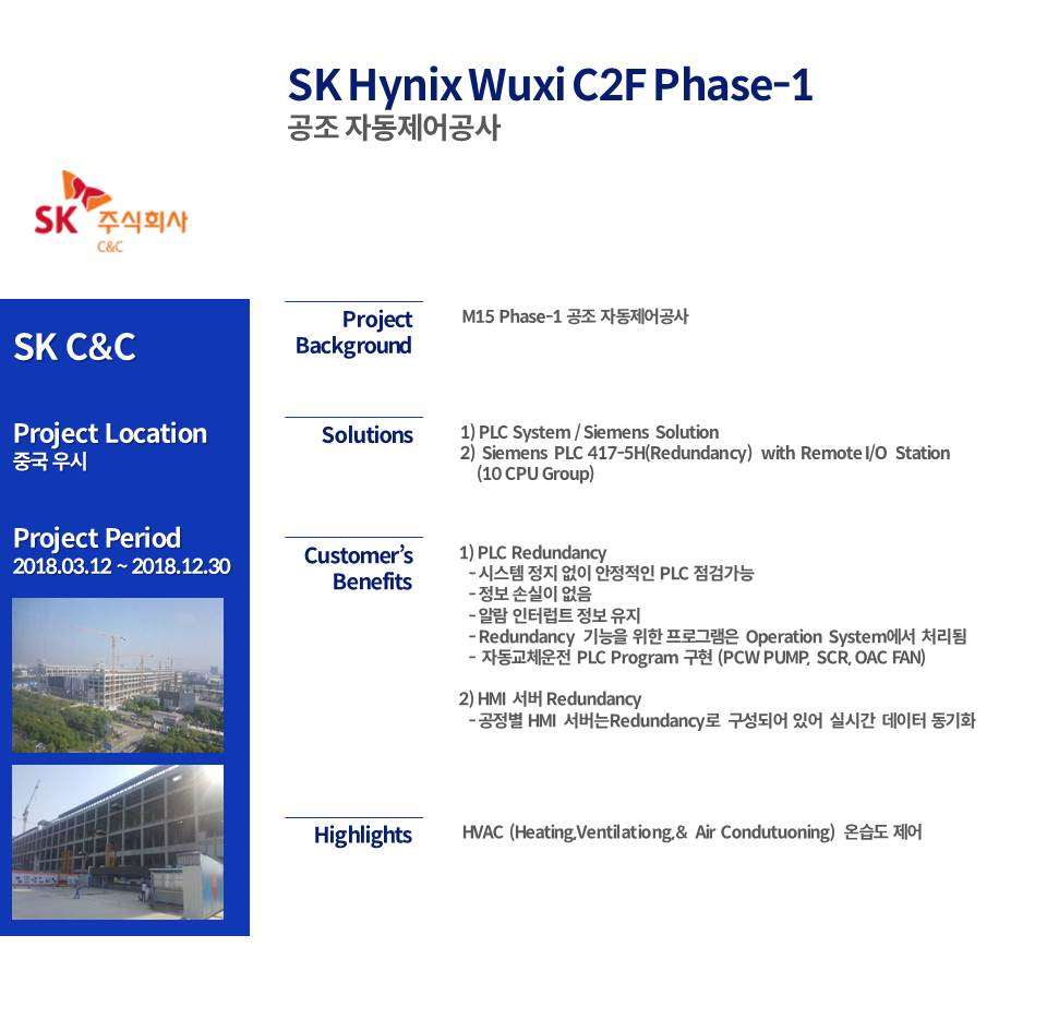 SK Hynix Wuxi C2F Phase-1 공조 자동제어공사