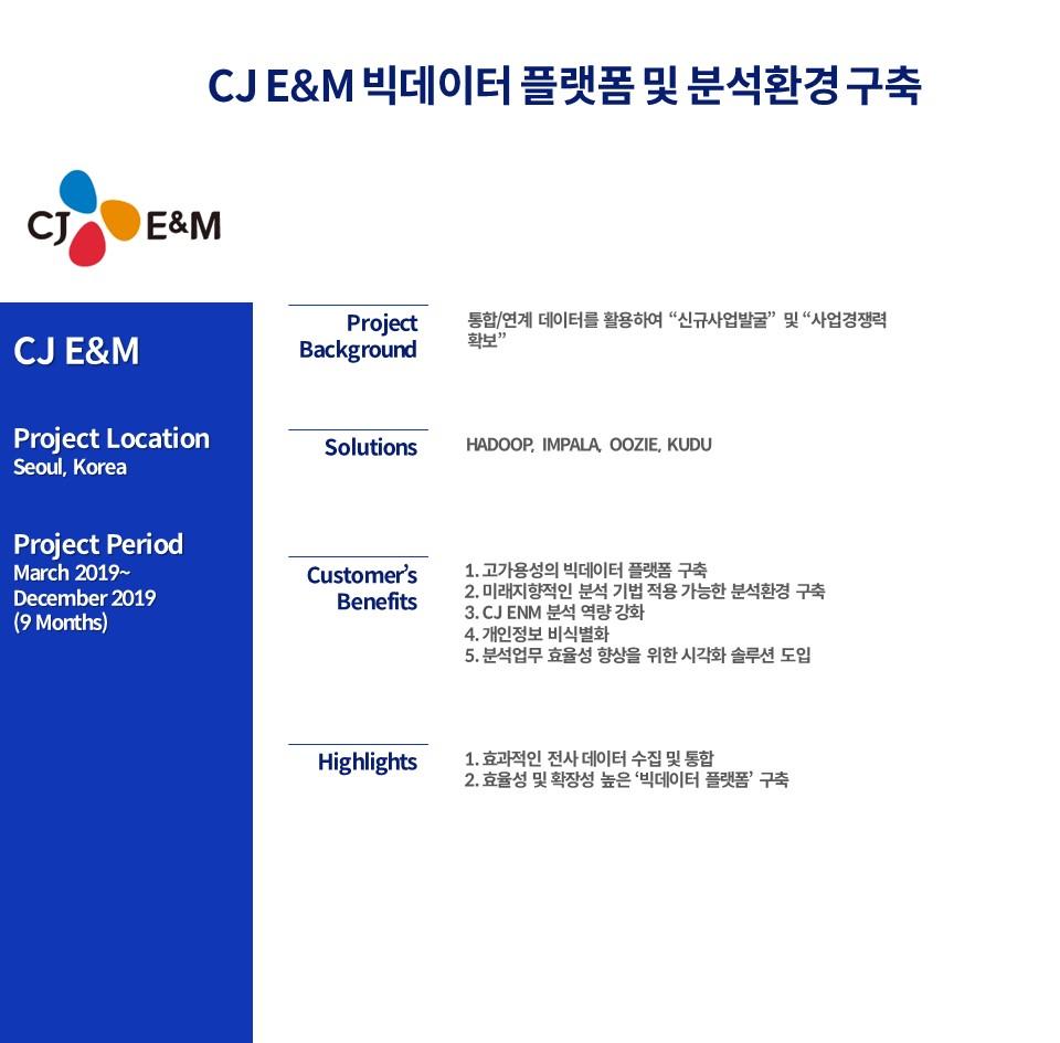 CJ E&M 빅데이터 플랫폼 및 분석환경 구축