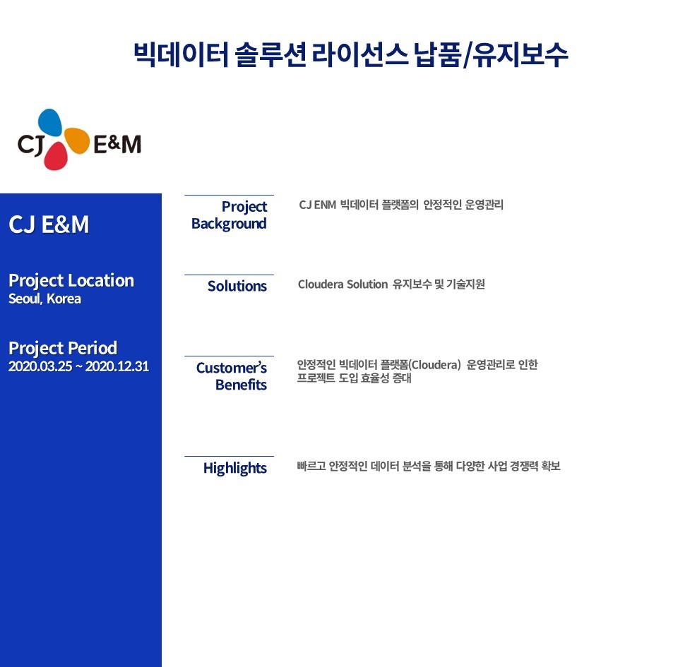 CJ ENM 빅데이터 솔루션 라이선스 납품 및 유지보수